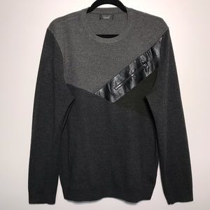 Zara Man Colorblock Faux Leather Detail Sweater